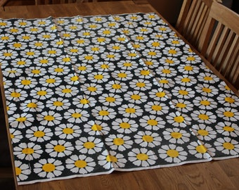 TAMPELLA Fabric Black Yellow white Tampella Curtain,  Made in Finland Daisy flower fabric Finnish Retro Cotton Scandinavian Design 2 pieces