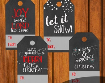 Christmas Chalkboard Gift Tag Printable / Gift Wrapping / Tag / Holiday Printable / Chalkboard Art / 8 Gift Tags / DIY / Instant Download