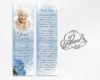 Blue Hydrangea Celebration of Life Funeral Bookmarks • Watercolor Flower Bookmarks for Funeral • Memorial Bookmark for Grandma Death