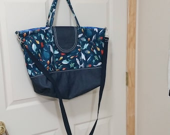 Explorer Tote made with ocean animal print and denim - large tote with shoulder straps and cross body strap - beach tote