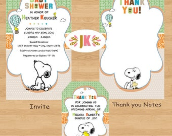 BFF Snoopy Best Friends Baby Snoopy Baby Shower Invitations