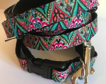 Medium 5/8 inch Bohemain Medallion Dog Leash and Collar Set