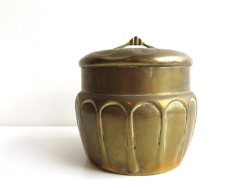 Vintage Brass Jar with Lid, Pretty Brass Storage Container, Hollywood Regency Style, Boho Deco Style Urn, Decorative Brass Home Decor Gifts