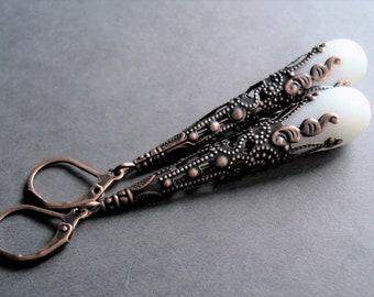 White Earrings Wedding Jewelry Vintage Style Long Earrings Bridal Jewelry Copper Earrings Glass Jewelry Teardrop Earrings Dangle Earrings