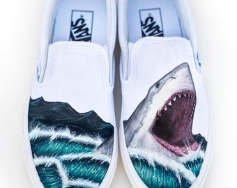 Custom Painted Vans Shark Shoes - Hand Painted Great White Shark