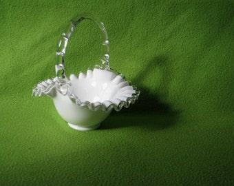 Vintage Milk Glass Bride's Basket likely before 1970's