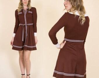 Vintage 1960s 'Nordstrom Best' Brown & White Striped, Button up, Midi Shirt Dress