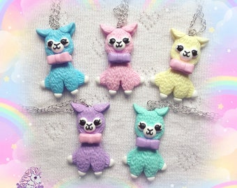 Cute alpaca necklace pastel fairy kei lolita
