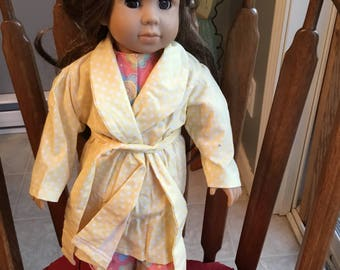 "Cotton pajamas with robe and slippers fit 18"" dolls such as American girl."