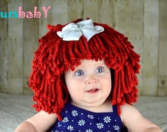 Raggedy Ann Wig Halloween Costume Hat Raggedy Ann Costume Red Yarn Wig Baby Hat Baby Costume Baby Wig