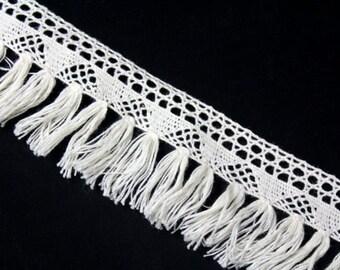 Ivory Crocheted Fringe Trim Ribbon for Crafts 1 YARDS