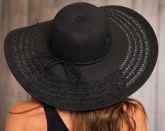 Floppy hat, Beach hat, Black floppy hat