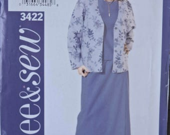 """Butterick See & Sew 3422 Easy Sewing Pattern Misses' and Petite Jacket Top and Skirt UNCUT Factory Folds Sizes 18-20-22 Bust 40-44"""""""