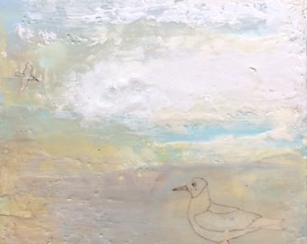 Sea gull painting, abstract beach painting, cape cod art, encaustic painting
