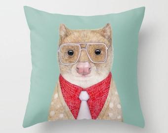 Quoll THROW PILLOW, Teal Decor, Decorative Animal Cushion, Australian Quoll
