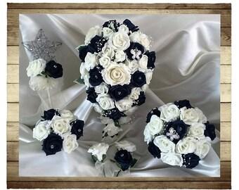 Wedding Flowers Navy Blue & Ivory wedding bouquets with butterflies, Brides, Bridesmaids, Flowergirls etc