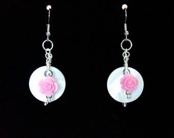 Pink Rose Pearl Disc Earrings