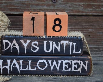 Vintage Halloween Countdown/Days Til Halloween Block Set