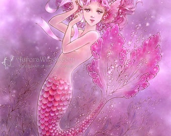 Free Shipping to US - Breast Cancer Awareness Art - Pink Ribbon Mermaid  - 5x7 Fantasy Art Print - by Mitzi Sato-Wiuff