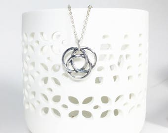 Silver Love Knot Charm Necklace, Linked Circles Sterling Pendant, Symbol of Love Necklace, Friendship, Faith, Love and Happiness