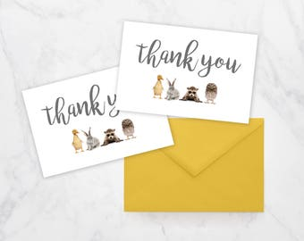 Baby Animals Thank You Card, Printable Thank You Card, Baby Shower Thank You Card, Farm Animals Card, Baby Animal Thank You Card