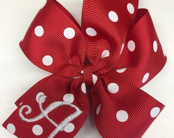 Valentines Day, Monogram Initial, Hair Bow, Red hairbows, Monogrammed Gift, Custom Letter, Personalized Girls, Ribbon Clip, Lettering Kids