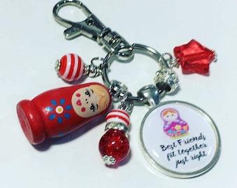 Best friends keyring, best friend, russian doll keyring, friendship keychain, best friend gift, gift for best friend, friend gift
