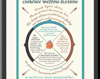 Personalized Wedding Gift Cherokee Wedding Blessing, a Native American gift with my original calligraphy style.