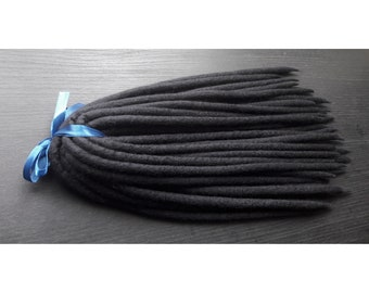 Raven Black Merino Wool Dreadlocks