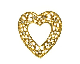 Heart Brooch with Flower Design Rhinestones Gold Tone Vintage Pin