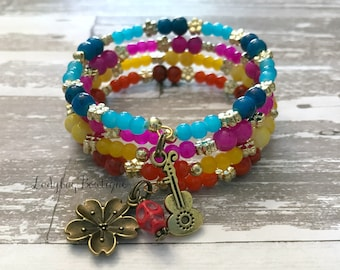 Coco-inspired Wraparound Bracelet Memory Wire Girl or Adult ~ Land of the Dead ~ Disney Pixar Character Bracelet