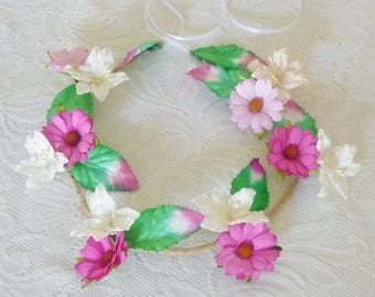 Pink White Daisy Lily Floral leaves headband Festival headpiece / Flower crown / Hair crown