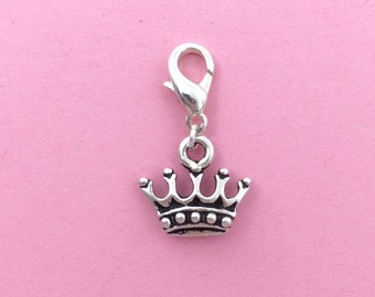 Silver princess crown clip on charm - Princess jewelry - Crown charm - Fantasy charm - unique birthday gift for girl - queen king crown