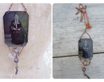 Attente Assemblage necklace with Victorian tintype photography  & other Antique pieces
