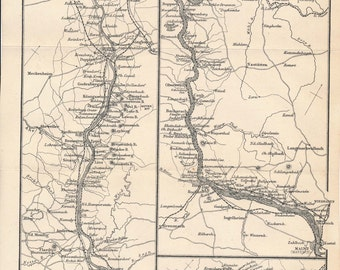 1877 Rhine River Germany Antique Map