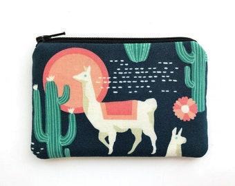 Llama coin purse - cute zipper pouch - mini wallet purse - gift ideas for her - dark blue fabric pouch - small padded pouch