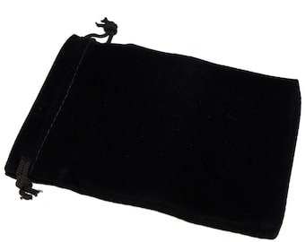 Wholesale Lot of 12 Black Color Soft Velvet Pouches with Drawstrings for Gift Packaging, 6 Size availables