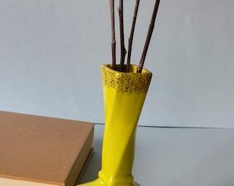 Ceramic Yellow Gold Flower Vase, Vintage Glass Bud Vase, Mid Century Pottery Vase Decor