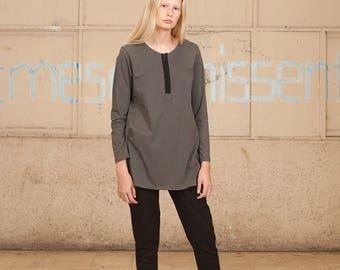 Sale/Gray Shirt / Women Shirt / Long Sleeve Shirt / Long Sleeve T Shirt /Gray tshirt / Long Sleeves tshirt / Women Tunic