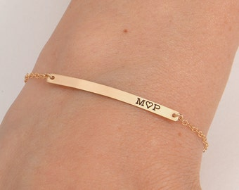 Gold Initial Bar Bracelet , Bar Bracelet, Handwritten Bar Bracelet, Name Engraved Bracelet, Gold, Silver, Bridesmaid Jewelry, Christmas Gift