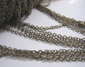 Antique Brass Chain, Antique brass Plated Chain, Flat oval, 2mm x 1.6mm