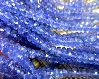 Tanzanite faceted rondelle- 3-4mm- 8 inch