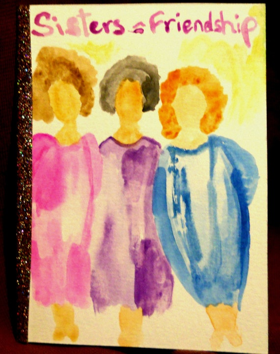 """Original Hand Painted Blank Note Card w/Envelope, Watercolor Painting, """"Sisters=Friendship,"""" Folk Art, Signed Artwork by Stacey Torres"""