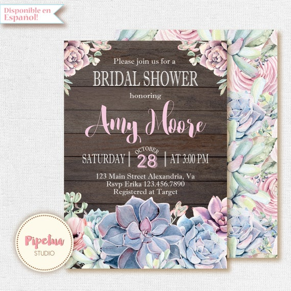 bridal shower succulent invitation succulent invitation
