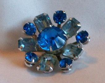 Vintage Small Coro Blue Rhinestone Brooch Pin Signed