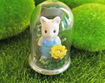 Enchanted Cat Woodland Miniature Terrarium Keepsake Gift Or Necklace