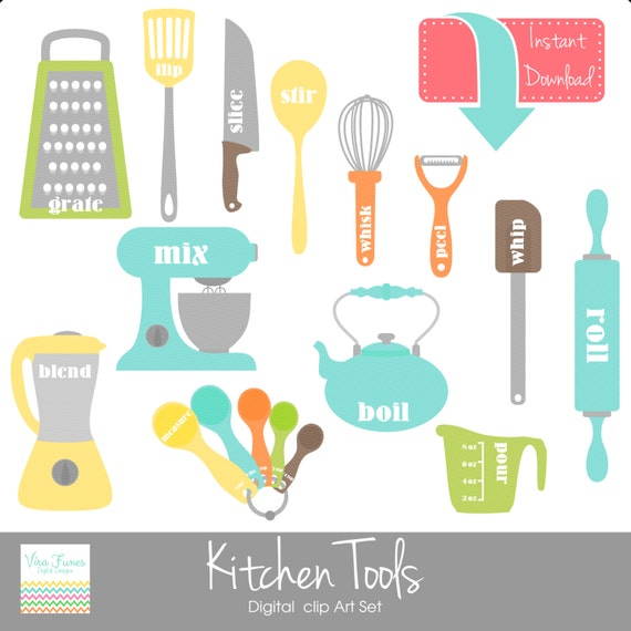 Kitchen Window Clip Art: Items Similar To Kitchen Tools Digital Clip Art Clipart
