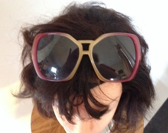 Vintage Renauld Sunglasses Ombre Rose Pink Square Sunglasses Aviator Style Sunglasses Italian Sunglasses
