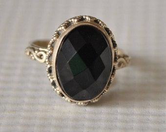 Sterling Silver Black Onyx Ring Sz 7  #9743