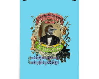 Bird Poster Classical Music Composer Schubert Animal Pun